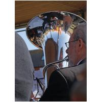 On Hunstanton band stand during the Royal Wedding celebrations&#13Reflections of a tubist - Tony pictured from a different angle