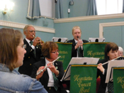 Swaffham Assembly Rooms&#13;A concert presented by Swaffham &amp; Litcham Home Hospice&#13;Alf Ball and Trina Barrow on trumpets playing The Flower Duet</em>&#13;20th April, 2013&#13;Photo - Jan Foster